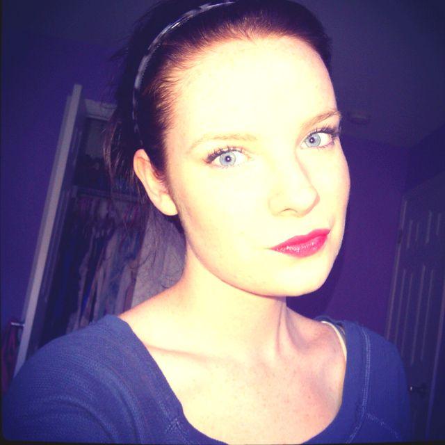 Makeup. Blue eyes. Pale skin. Summer. Red lips. Beauty