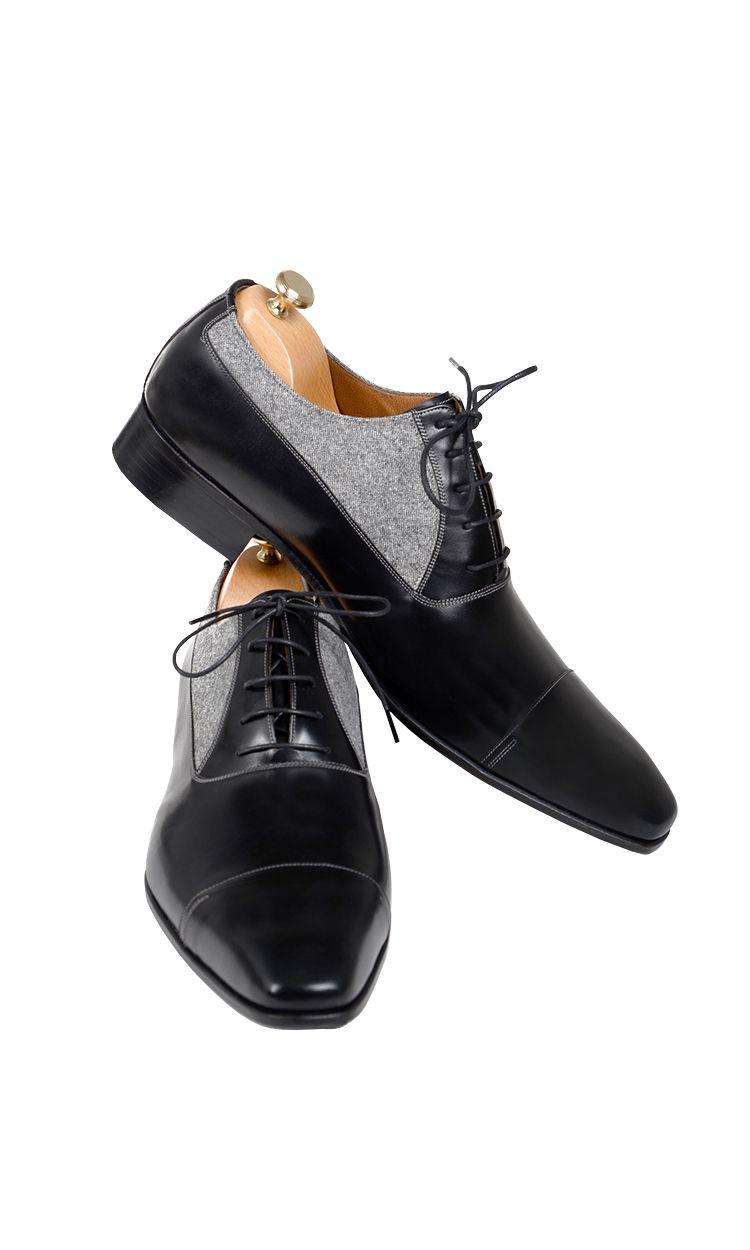 Handmade Black And Grey Fabric Men Shoes Leather Shoes Men Dress Shoes Men Well Dressed Men [ 1250 x 750 Pixel ]