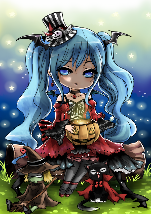 Commission for Luna in halloween oufit. Happy Late