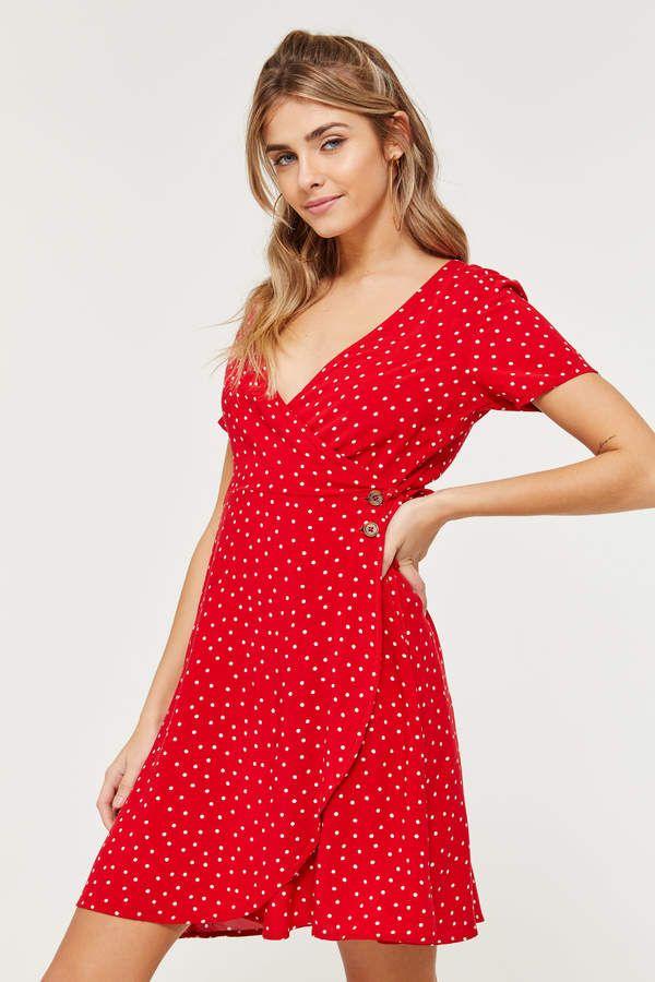 b03687f747 Ardene Polka Dot Mini Wrap Dress in 2019 | Short dresses | Red wrap ...