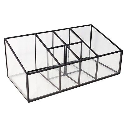 Make Photo Gallery Threshold Glass and Metal Incline Compartment Vanity Organizer Pewter