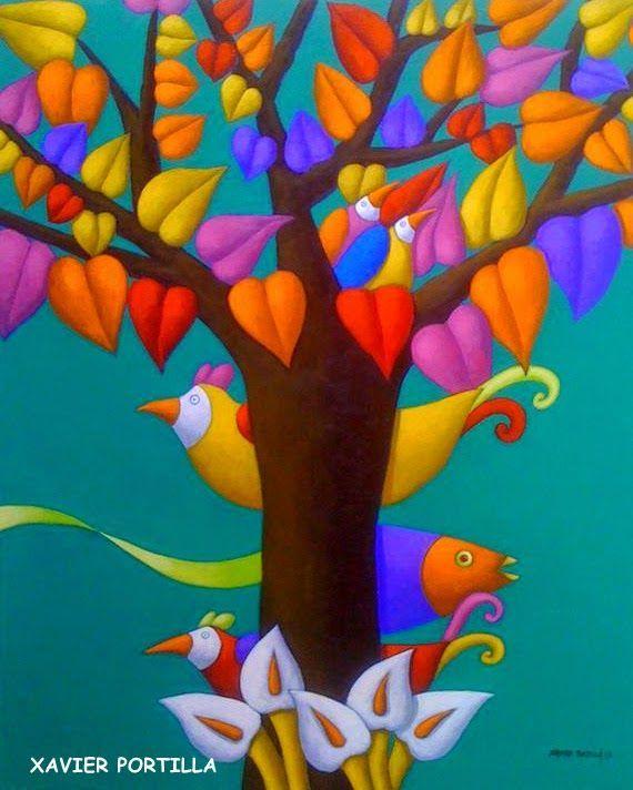 pintura whimsical naive folk - Buscar con Google | Arte ...