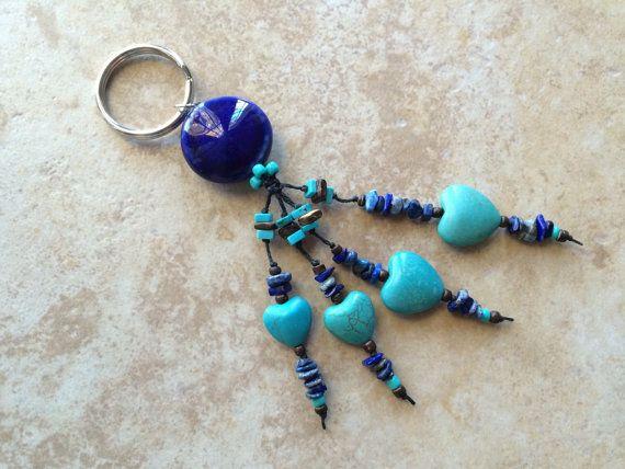 Stone Keychain Unisex Keychain Knotted Keychain by FrancaandNen