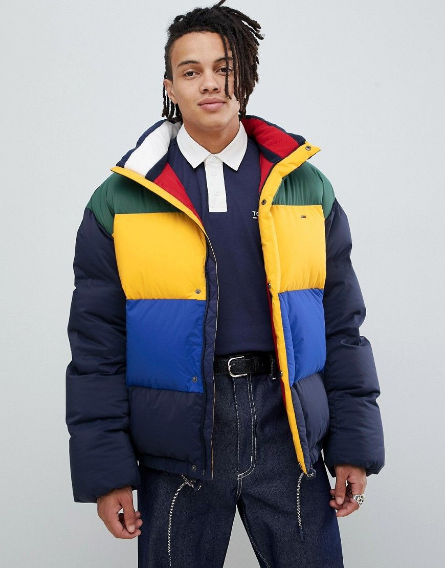 Tommy Jeans Oversize Color Block Down Puffer Jacket In Navy Multi Navy Tommyjeans Cloth Tommy Jeans Mens Fashion Jeans Oversized Jeans [ 1110 x 870 Pixel ]