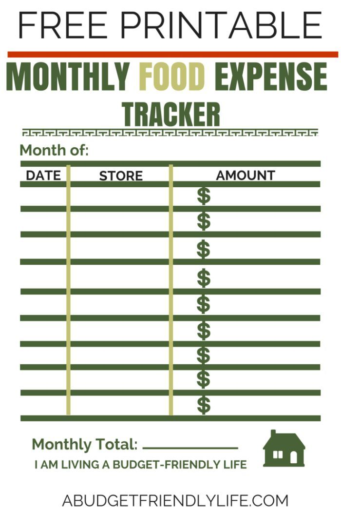 how much do you spend on food in a month free tracker monthly food