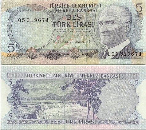 Turkey  5 Lira L.1970(1970-) (Atatürk, waterfalls)