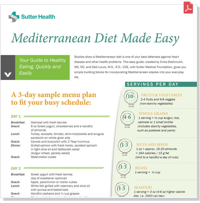 Mediterranean Diet Guide Sutter Health Mediterranean