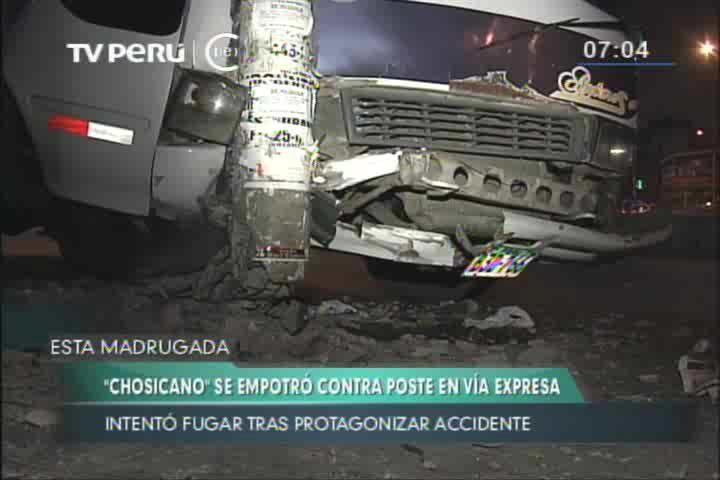 'Chosicano' se empotró contra poste al huir de la policía