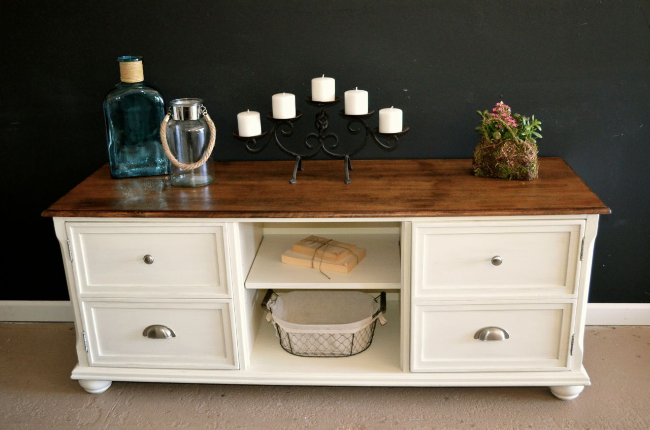 """Distressed antique white tv stand by Analia Pastori Available at """"The Workshop"""" is located at 4060 Morena Blvd. Suite H San Diego, CA"""