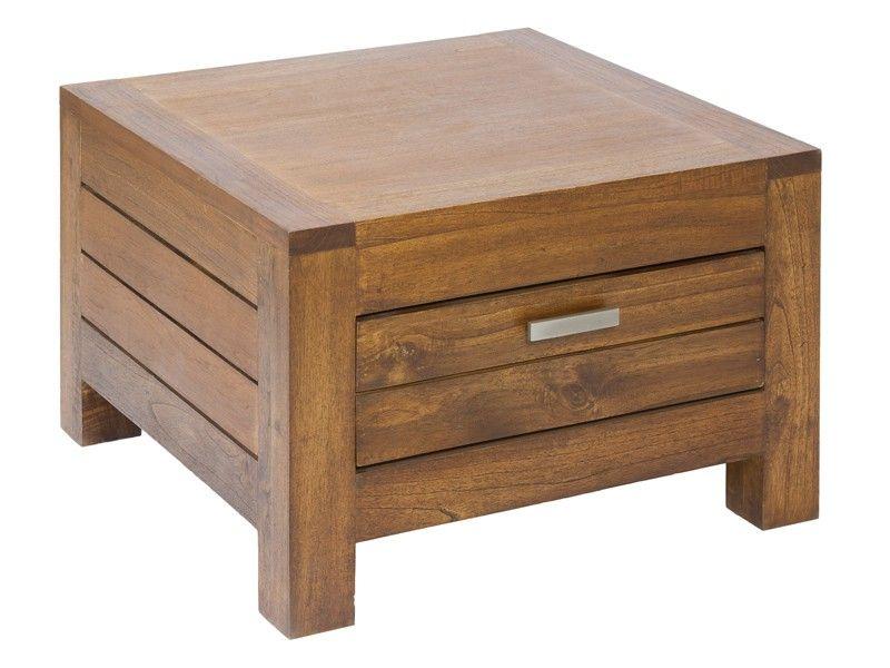 Mesita baja rinconera de madera con cajón Ohio