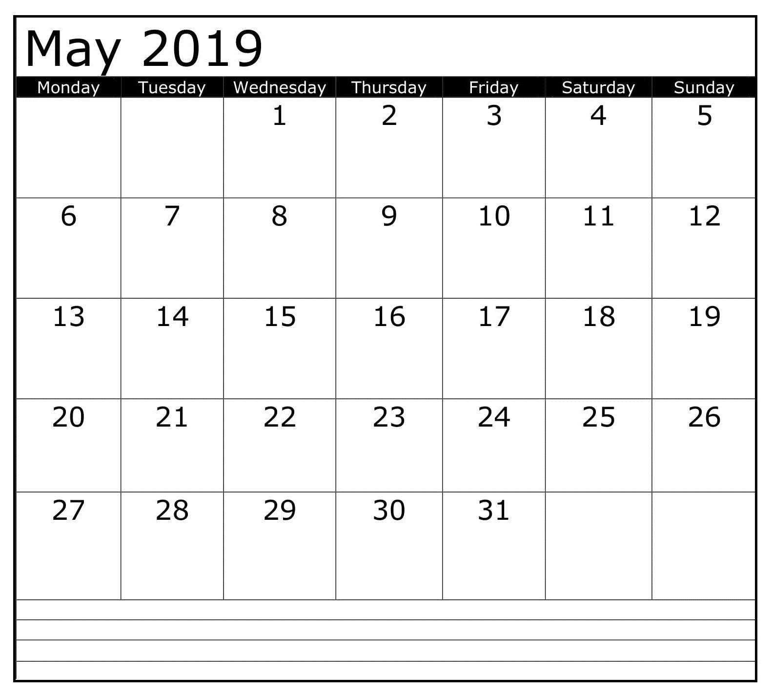 May Printable Blank 2019 Calendar Calendar 2019 Template