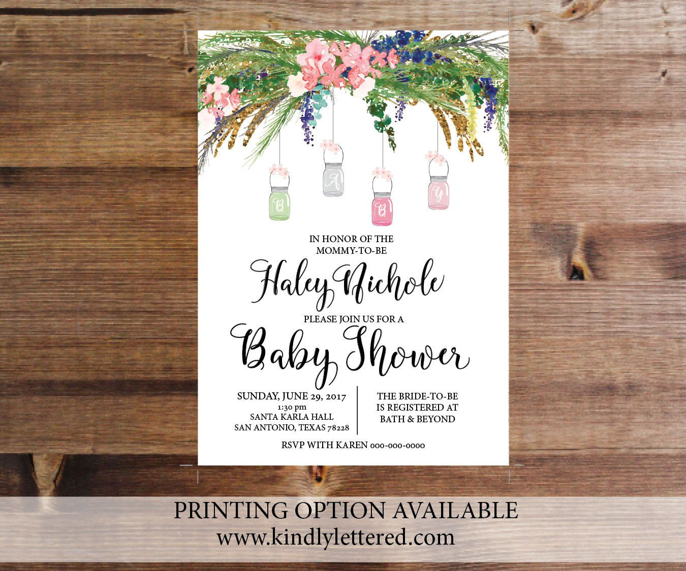 Shabby Chick Baby Shower Invitation Digital File Baby Shower