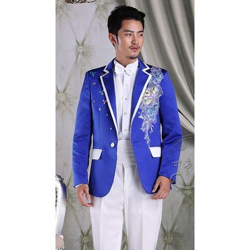 Royal Blue Embroidered Slim Fit Wedding Prom Dress Suit Shops Men ...
