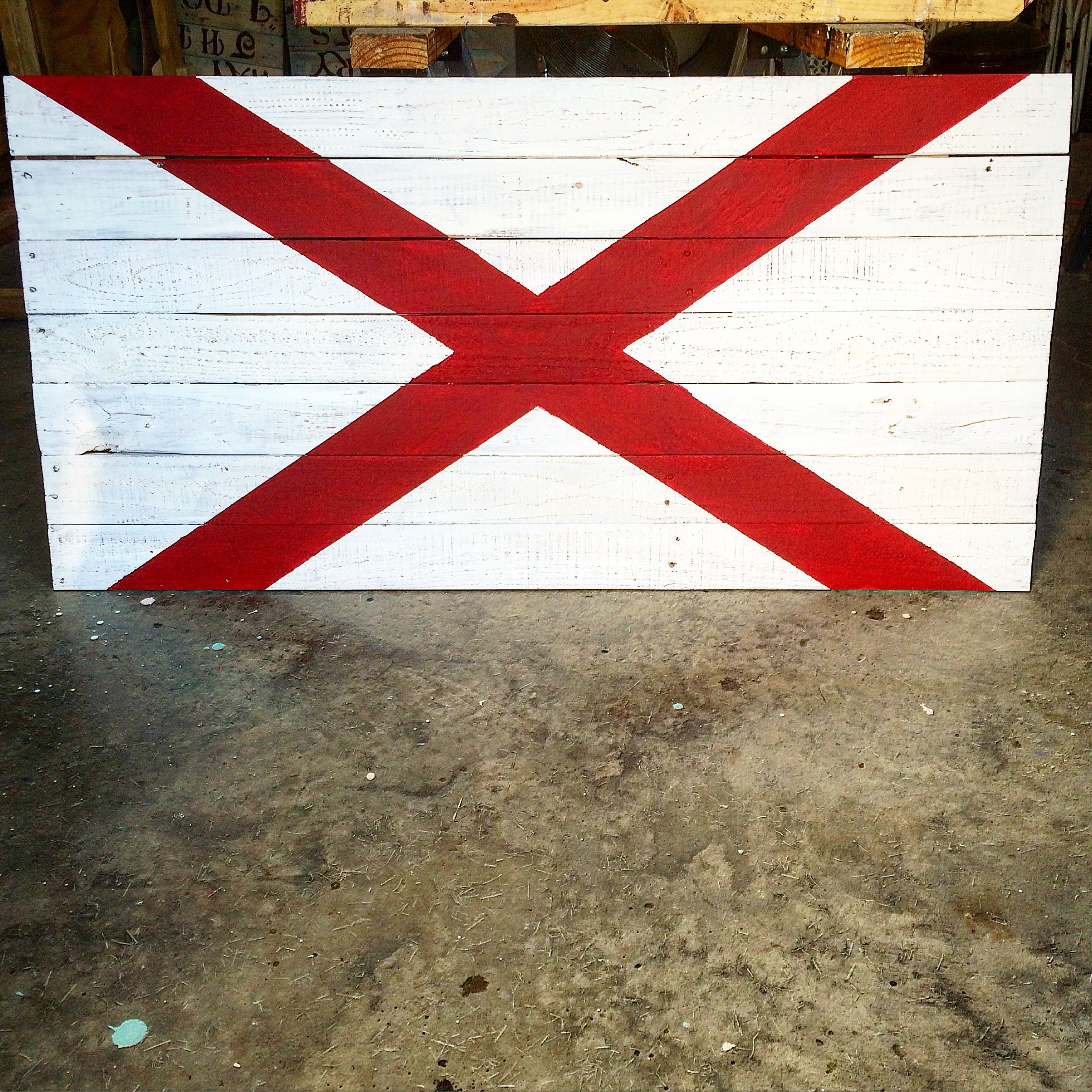 Alabama State Flag Reclaimed Wood Sign Flag Crafts State Flags Pallet Flag