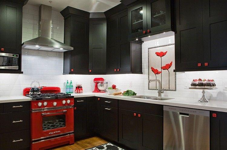 Cuisine Noire Idées De Design Contemporain Formidable Interiors - Carrelage metro noir cuisine pour idees de deco de cuisine