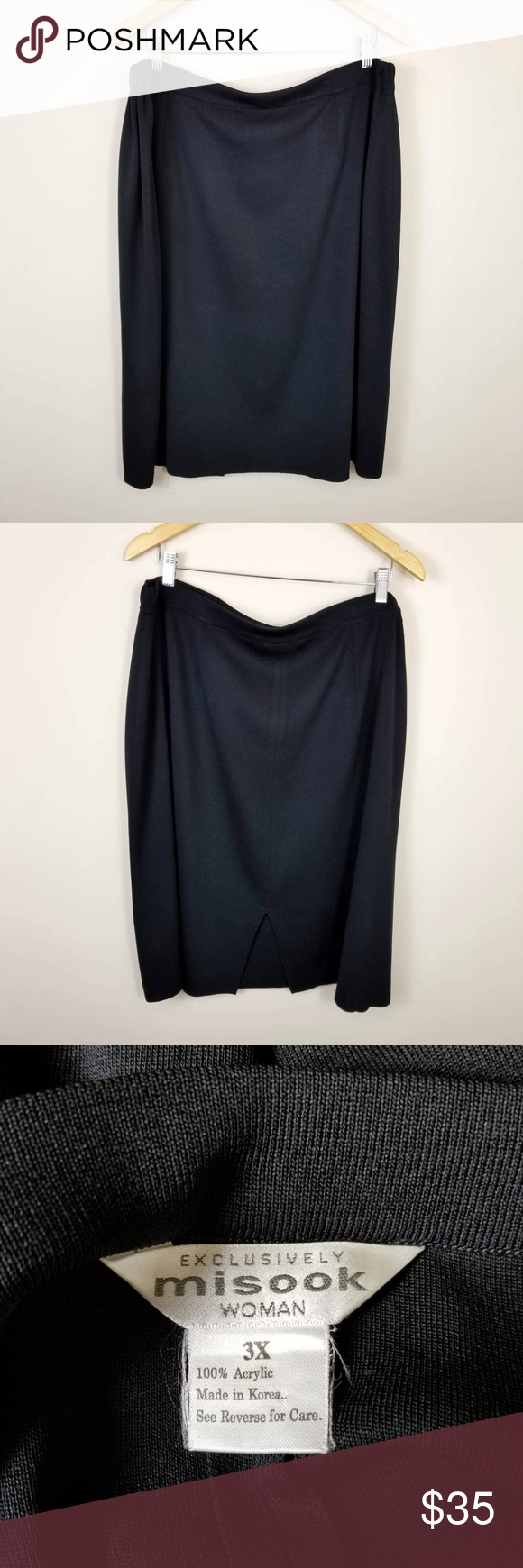 bae1cf3d9e Exclusively Misook Black Acrylic Knit Pencil Skirt Exclusively Misook black  acrylic knit pencil skirt. Elastic