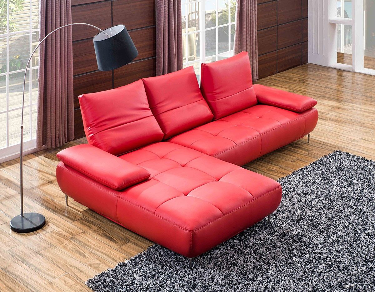 941 Contemporary Red Italian Leather Sectional Sofa
