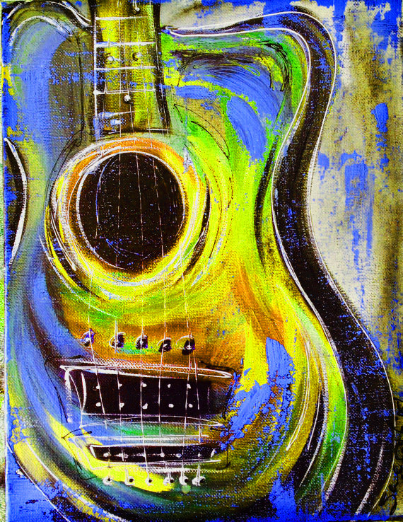 Guitar Painting, Music Art with distressing by Artist, Sheila A. Smith