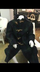 943c5b7ec Vintage POLO Ralph Lauren Tartan Navy PLAID Wool Toggle Duffle COAT ...