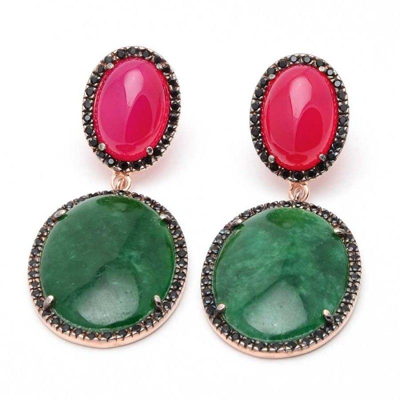 1c6f3f5b3f6a Pendientes Chica Dorados Plata Agata Jade Rojos Verde