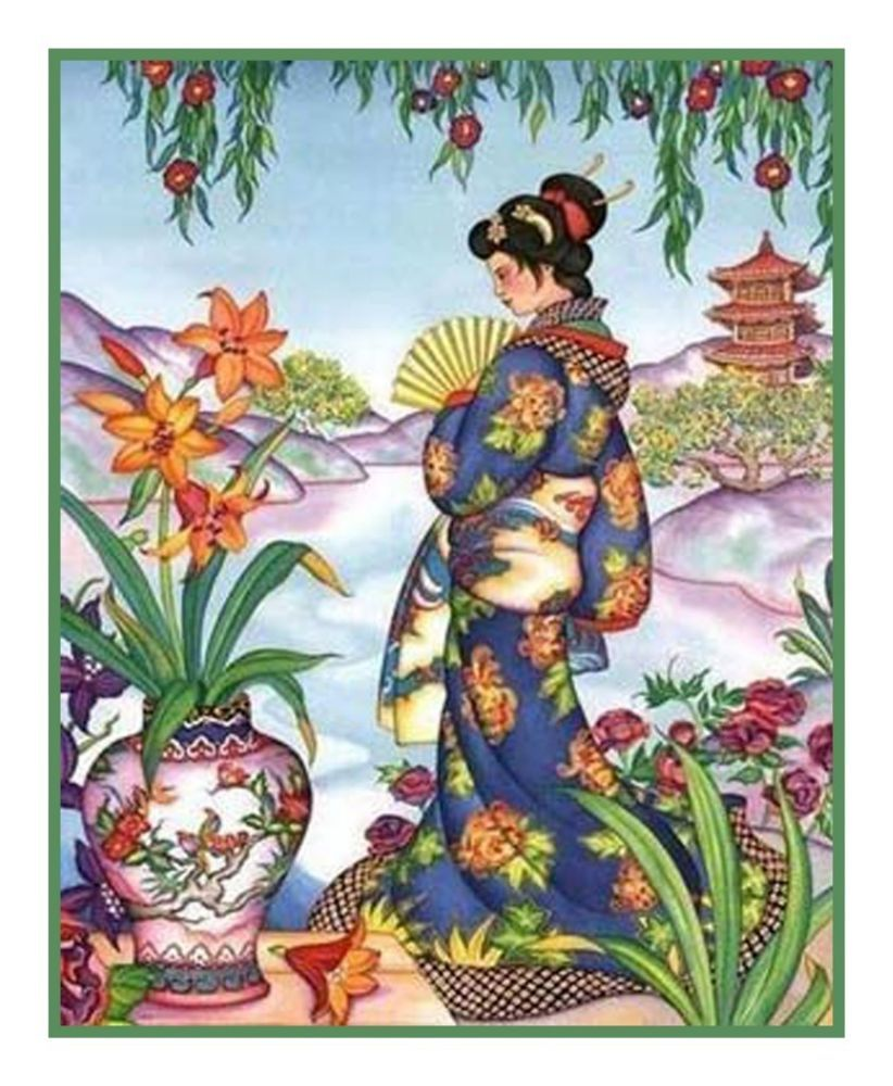 Japanese hokusai the maiden lady 1 counted cross stitch