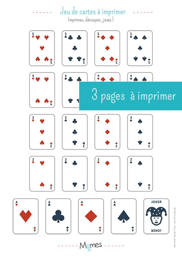 carte à jouer à imprimer Jeu de 54 cartes à imprimer | Carte de jeux à imprimer, Carte a