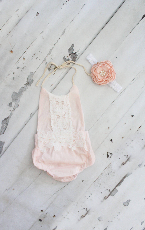 e2126fe7b Summer Outfit Boho Chic Blush Pink Lace Romper   Headband. Newborn ...