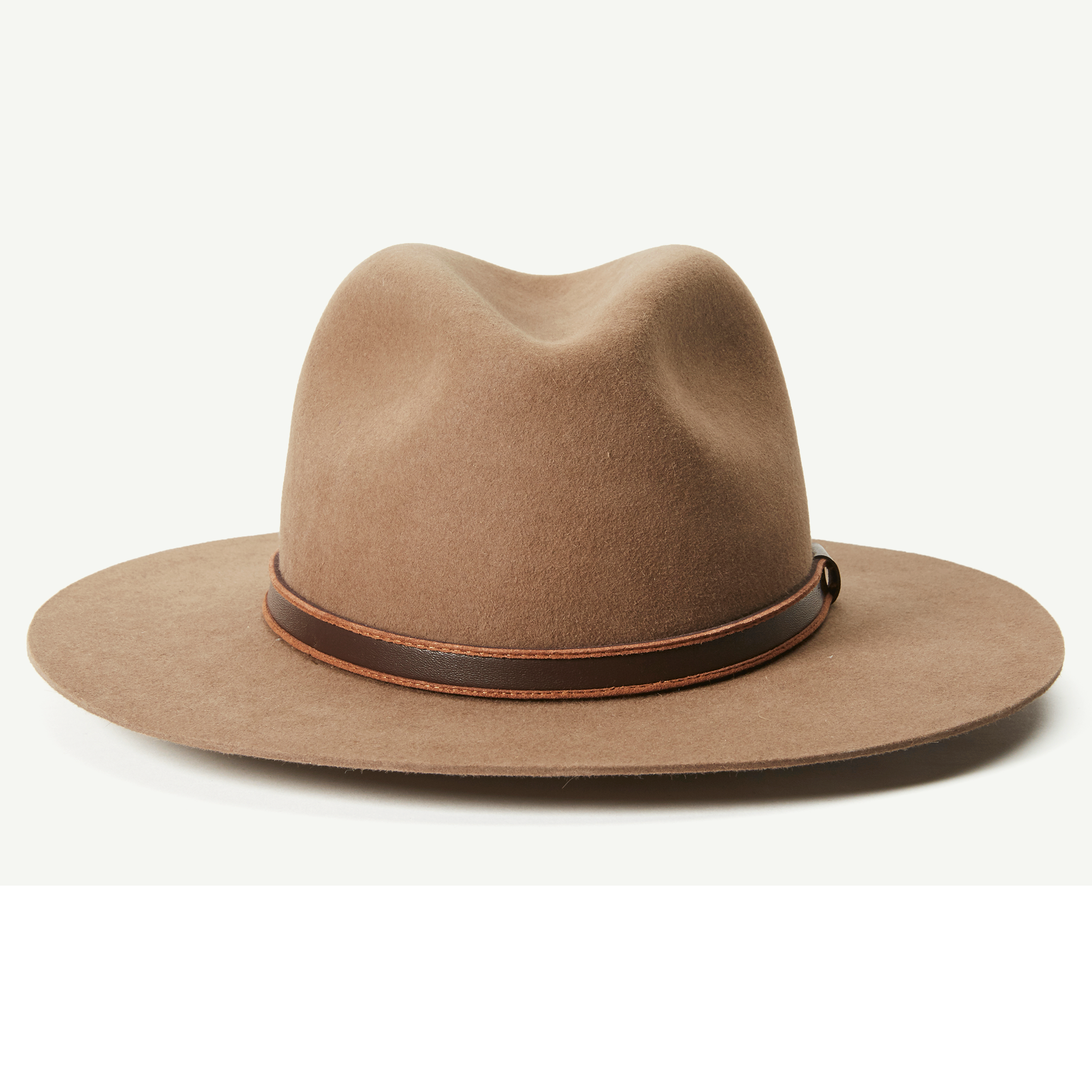... brim made in America by Goorin Bros. Big Tex Tan Rabbit Fur Felt  A-Crown Fedora hat front view 5bc1f1e3db5a