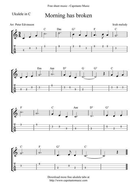 Free Ukulele Sheet Music | Free Sheet Music Scores: Morning has ...