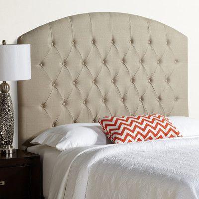 House of Hampton Kara Tall Curved Upholstered Panel Headboard Size: Tall Full, Upholstery: Light Grey
