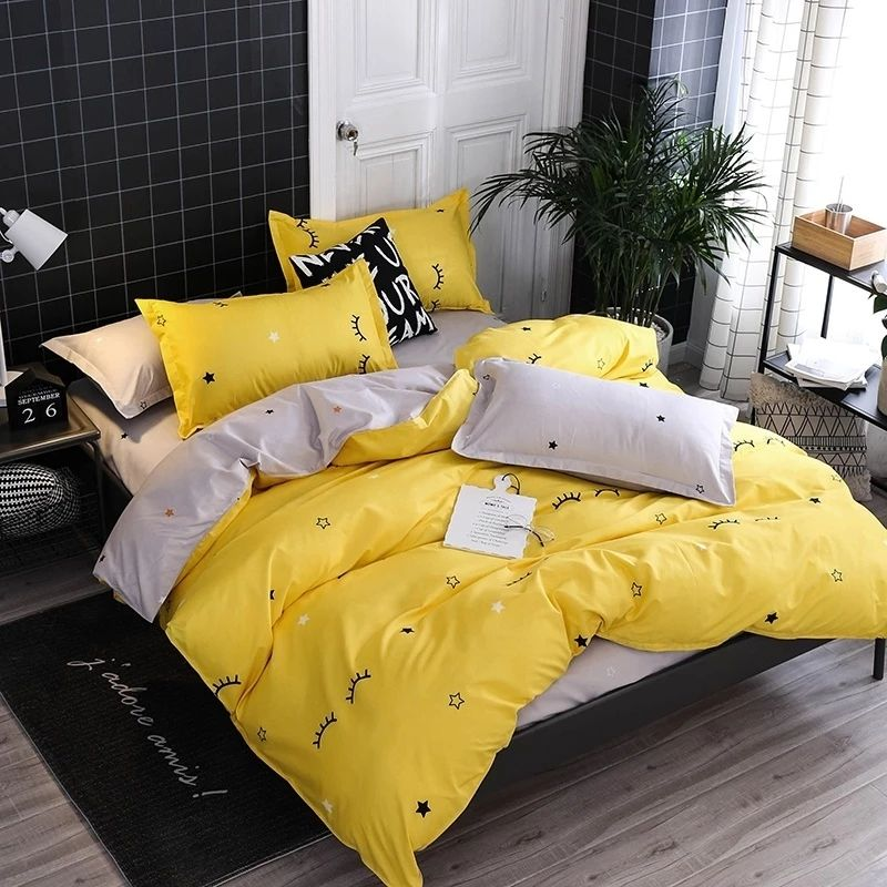 Pin By Homealls On Home Textile Yellow Bedroom Decor Simple Bedding Sets Yellow Bedding