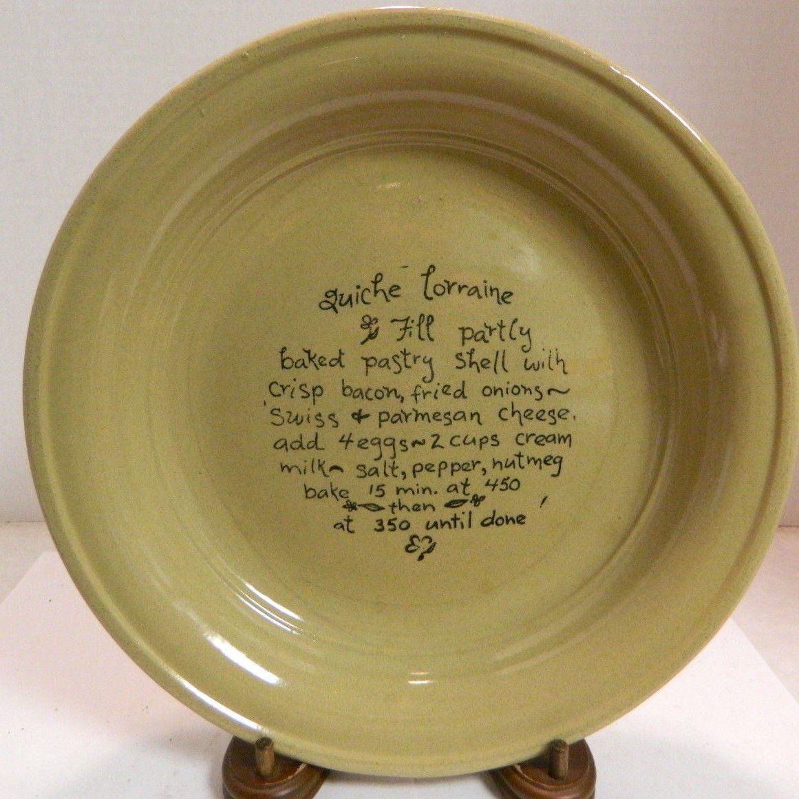 Vintage Moira Ltd Stoneware Pie Plate w Quiche Lorraine Recipe 10 75\ Excell | eBay & Vintage Moira Ltd Stoneware Pie Plate w Quiche Lorraine Recipe 10 75 ...
