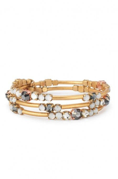 Gold coil bracelet with accents of soft blue and smokey sparkle. To put on, simply wrap around wrist. Isabelle Wrap Bracelet & More | Stella & Dot
