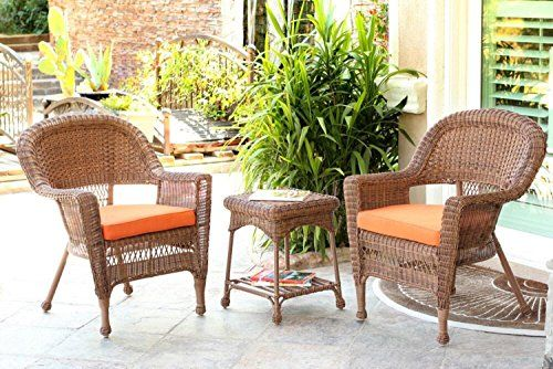 3Piece Honey Wicker Patio Chairs and End Table Furniture Set  Orange Cushions >>> You can get additional details at the image link.