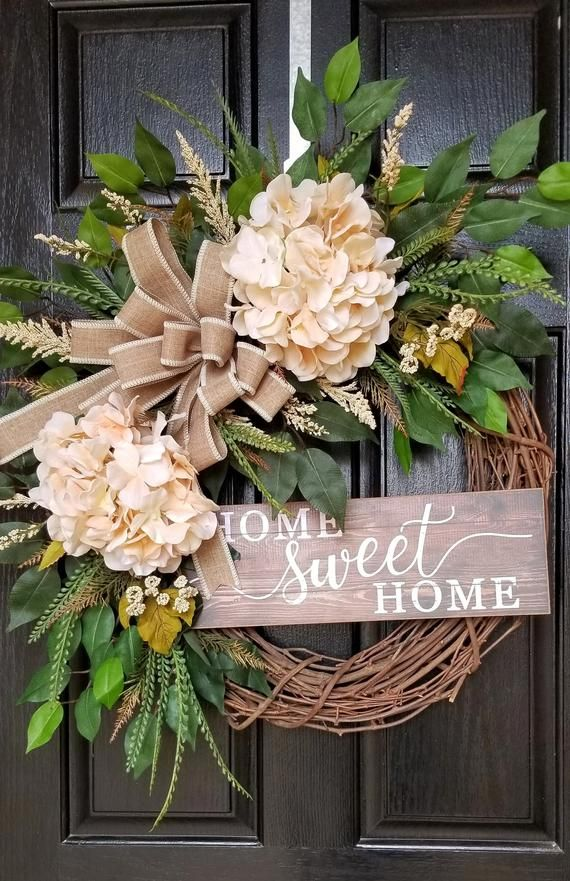 Photo of Wreaths for Front Door, Spring Wreath, Front Door Wreath, Everyday Wreath, Rustic Wreath, Hydrangea Wreath, Summer Wreath, Farmhouse Wreath
