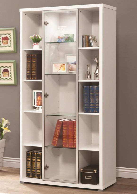 Pin On Bookshelf White bookcase with glass doors