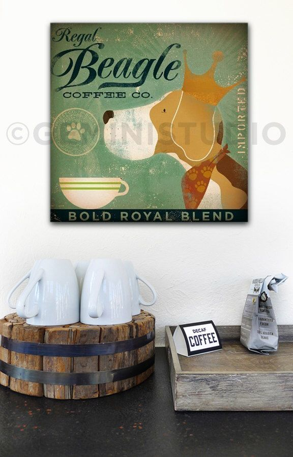 Regal Beagle dog Coffee company vintage style graphic art on gallery wrapped canvas by stephen fowler by geministudio on Etsy https://www.etsy.com/listing/62176930/regal-beagle-dog-coffee-company-vintage