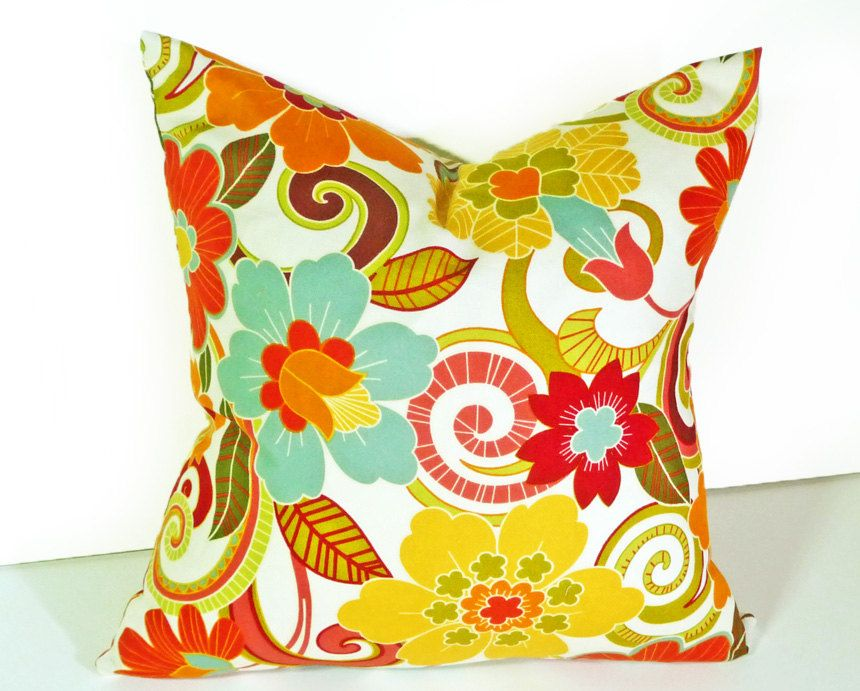 Terracotta Turquoise Yellow Floral Pillows Google Search Home Simple Terracotta Decorative Pillows