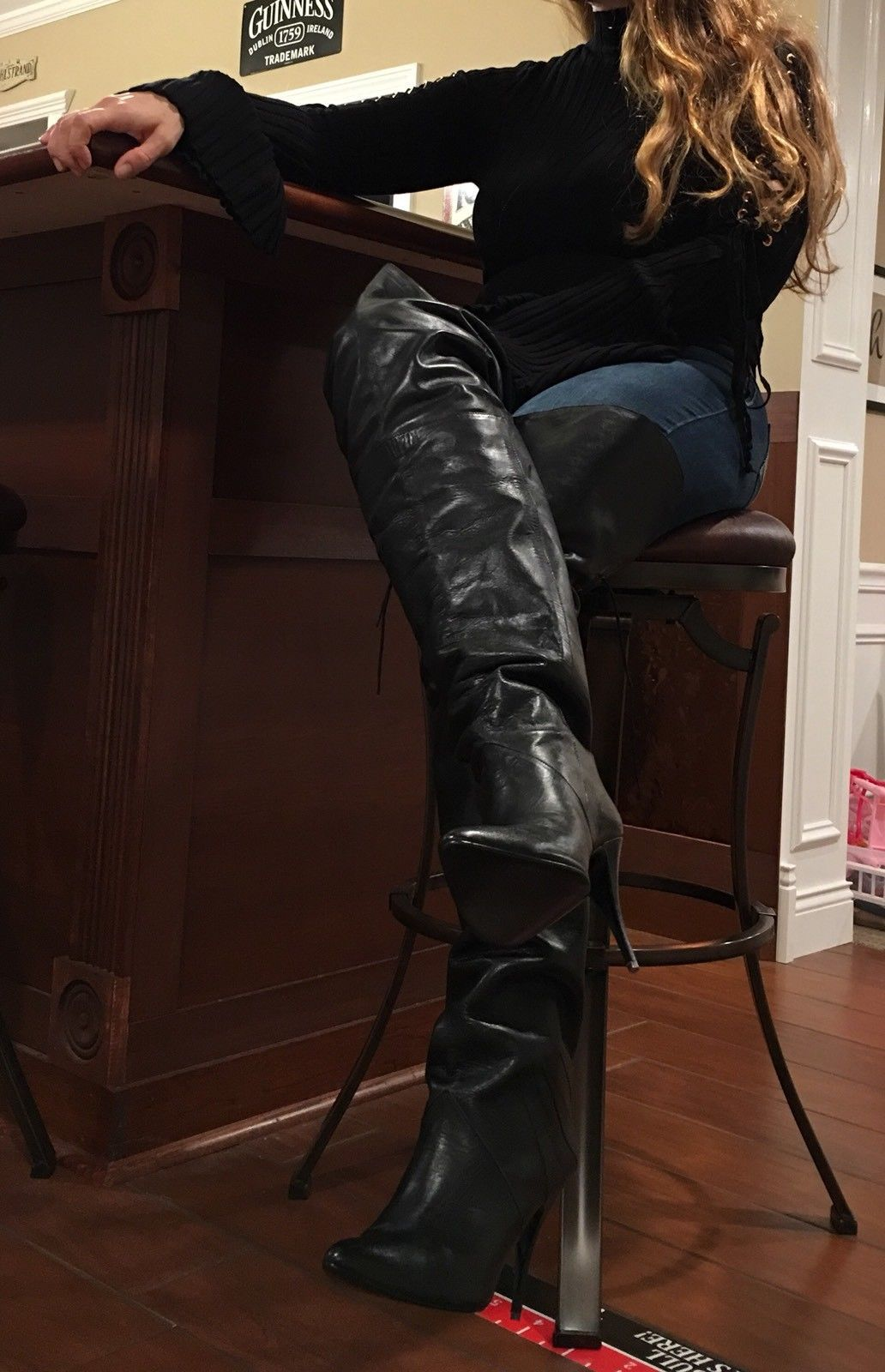 """61a614fabf2 New Sexy Rare Vintage 31"""" WILD PAIR Black Leather Thigh High Boots Over The  Knee"""