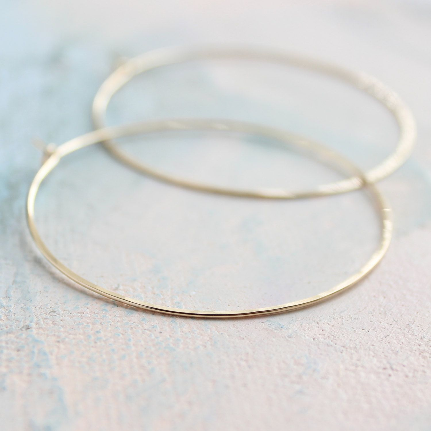 Thin Gold Hoop Earrings Large 2 Earings