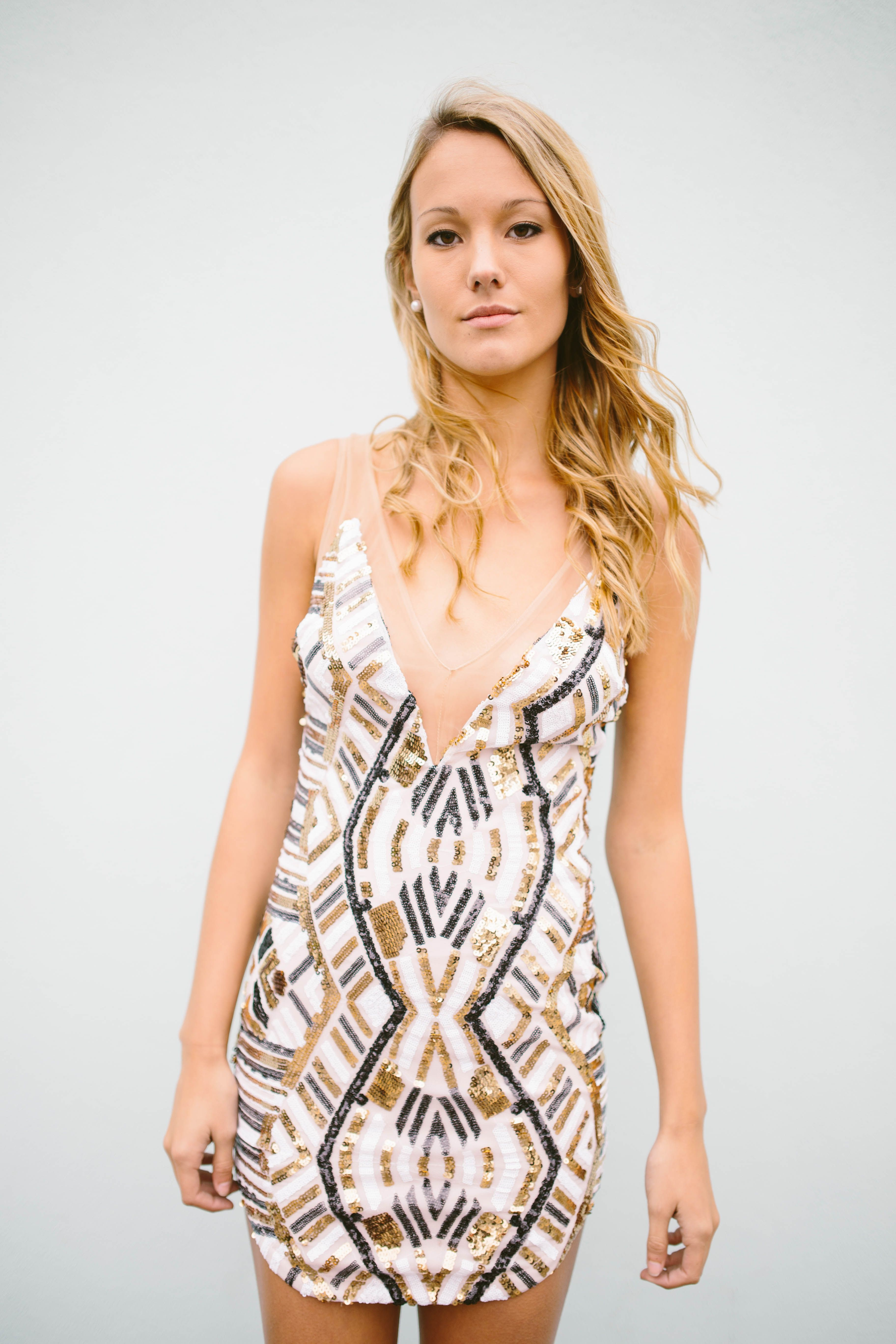 Black silver and gold sequin mini sleeveless with plunging vneck