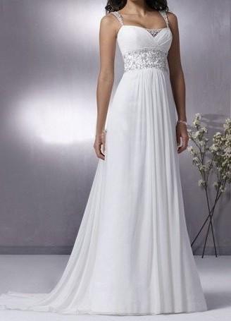 Grecian Chiffon Dress With Empire Waist Empire Wedding Dress Ruffle Wedding Dress Wedding Dresses