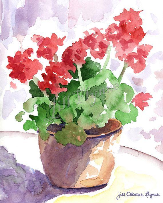 red geranium original watercolor paintingjillflynnedesigns