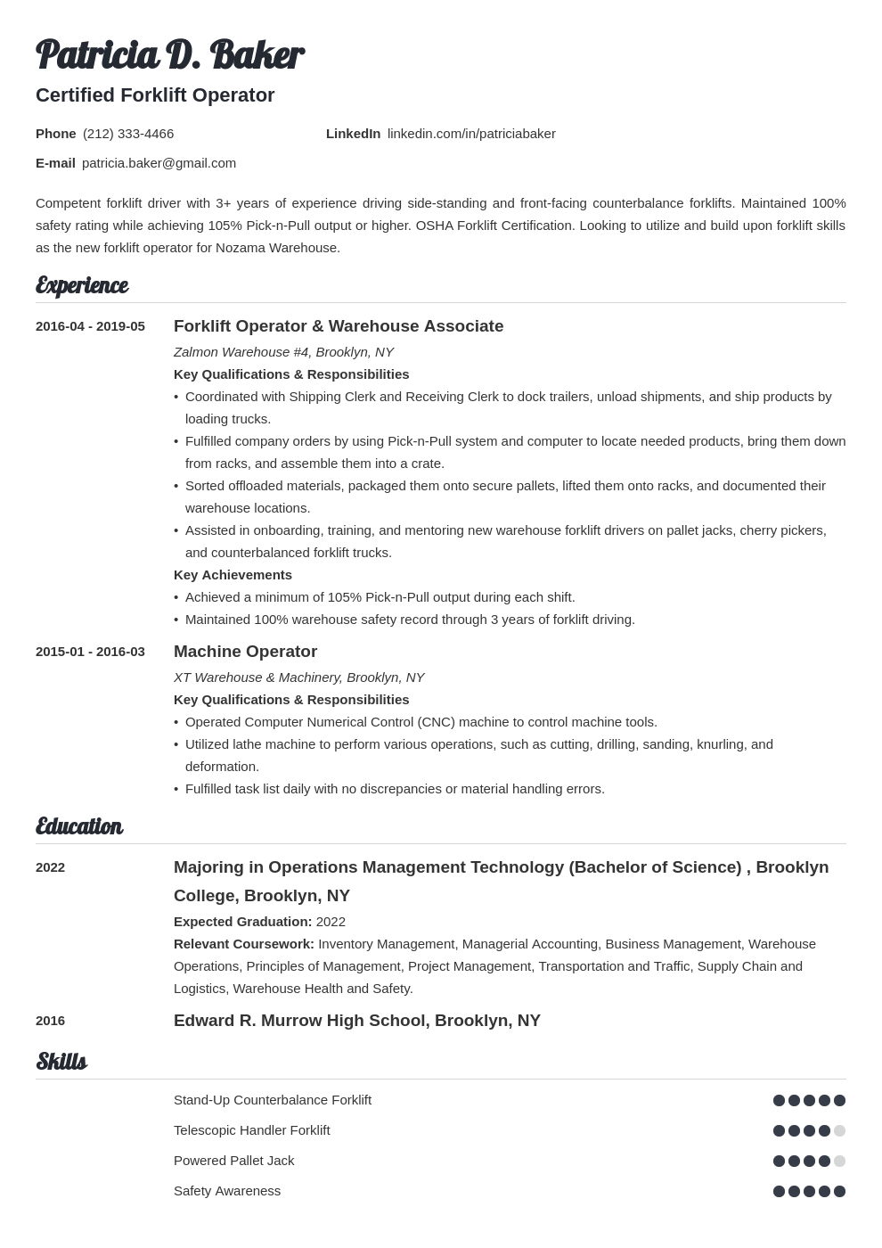 Forklift Operator Resume Example Template Valera Resume Examples Job Resume Examples Home Health Aide