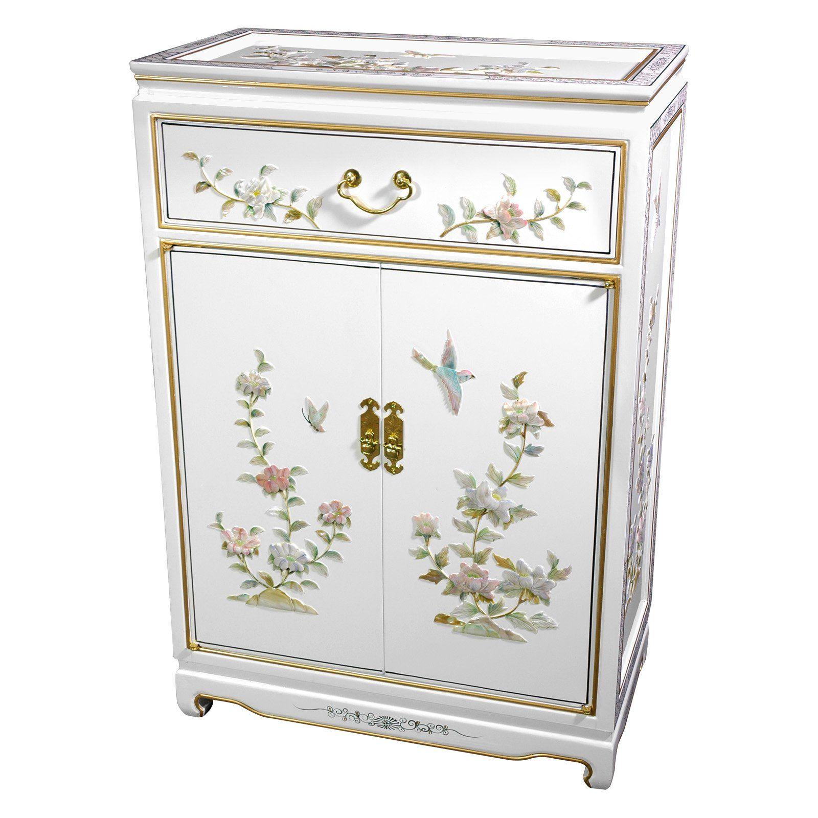 Oriental Furniture White Decorative Chest Armoires Peintes