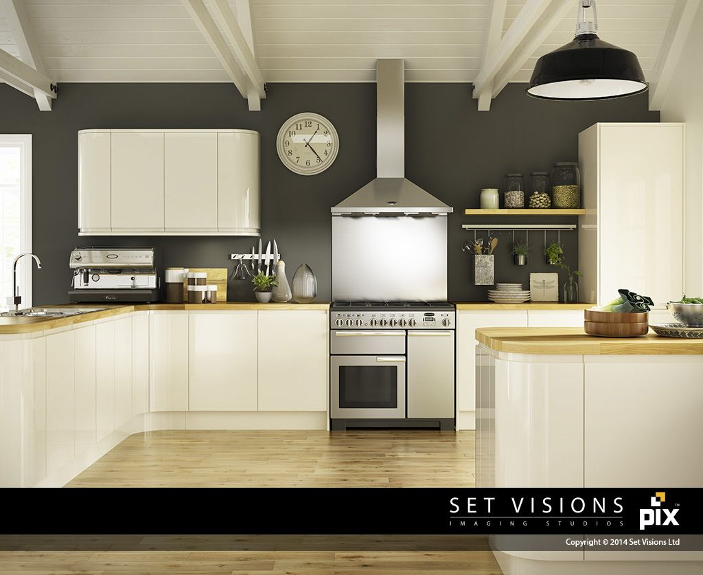 Dark Grey Walls Contrast With The Cream Curved Gloss Doors In This