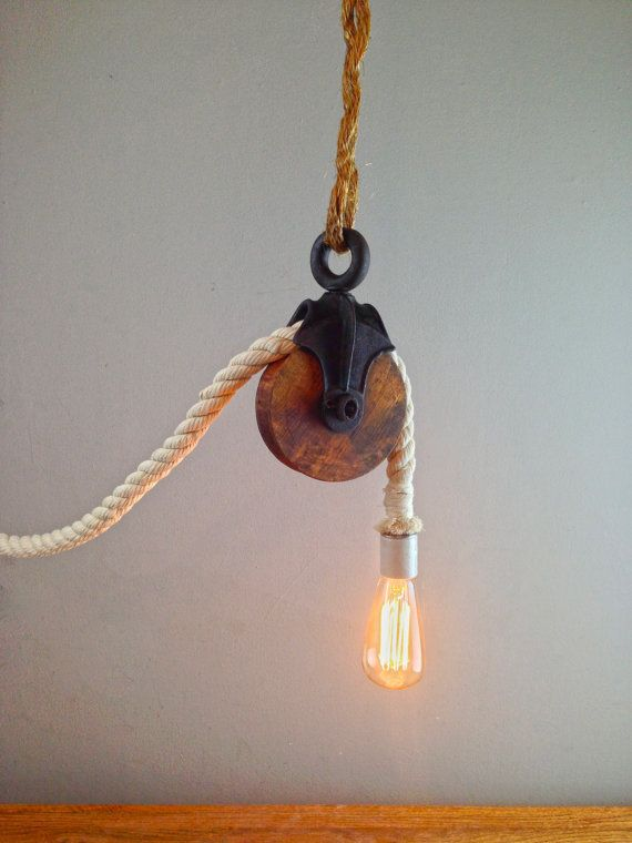 Rustic Pulley Cotton Rope Chandelier Light W Edison Bulb Rustic