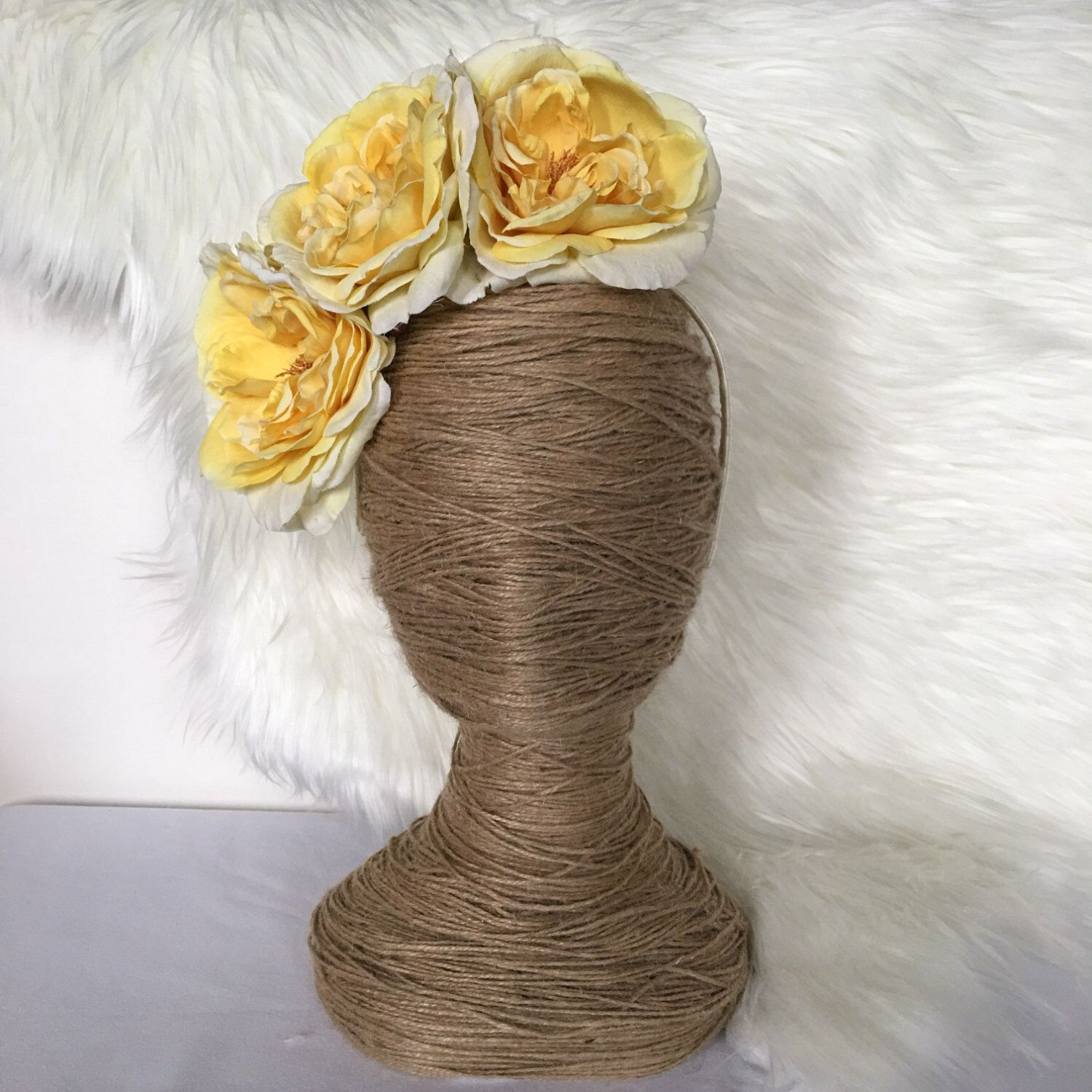 Oversized Lemon Yellow Cabbage Rose Bloom / Floral Wreath / Artificial / Hair Flowers / Bride  / Fake Flower / Silk / Fascinator / Headband by FauxFloralCo on Etsy https://www.etsy.com/au/listing/480257959/oversized-lemon-yellow-cabbage-rose