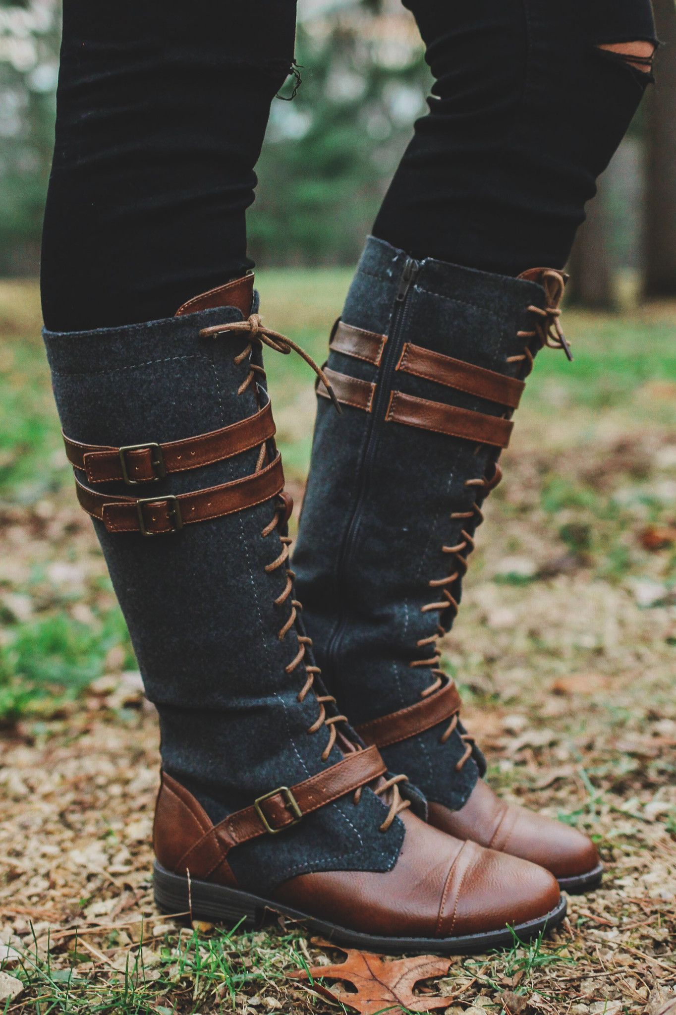 Lace Up Faux Leather Accents Tall Riding Boot