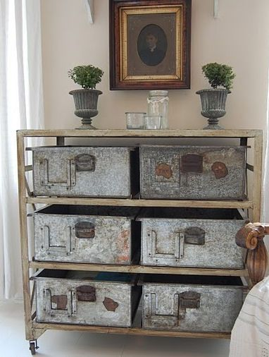 galvanized junk style shelving / side table